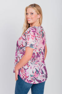Plus Size Tropical Print Scoop Neck Tee Blush
