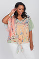 Plus Size Patchwork Print Tie Front Top Orange