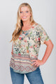 Plus Size Pineapple and Palm Border  Print Tee Sage