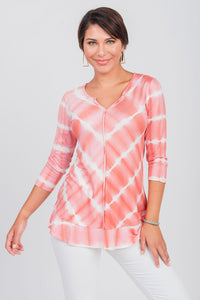 Printed Tie-Dye Notch Neck Top Coral
