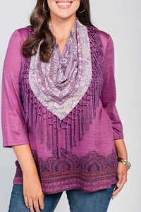 Plus Size Border Print Top/Scarf Two-Piece Set Plum