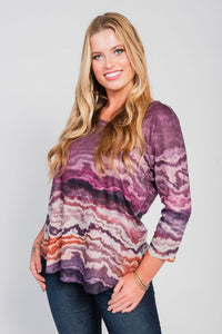 Plus Size High/Low Hemline Tee Purple-Engaging