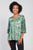 Elbow Sleeve Button Front Top Green