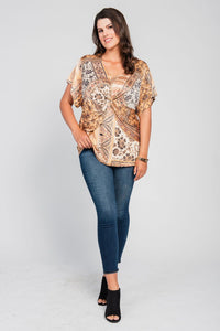 Plus Size Twist Front Top Yellow