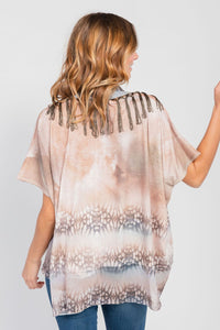 Poncho Top/Scarf Two-Piece Set Bark