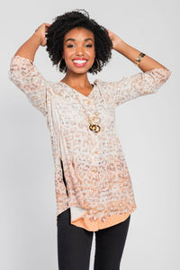 Button Front Tunic/Necklace Two-Piece Set Tan/Gold