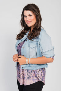 Plus Size Stretch Denim Cropped Jacket Light Denim Wash
