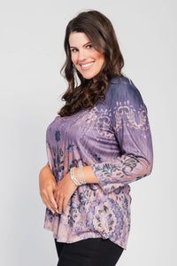 Plus Size High/Low Hemline Tee Purple-Holly