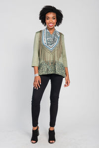 Border Print Top/Scarf Two-Piece Set Olive