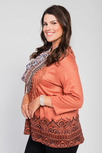 Plus Size Border Print Top/Scarf Two-Piece Set Rust