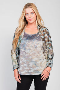 Plus Size Cocoon Shrug Two-Piece Set Olive