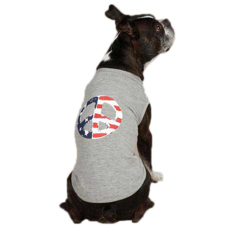 Casual Canine Americana Peace Flag Dog Tanks
