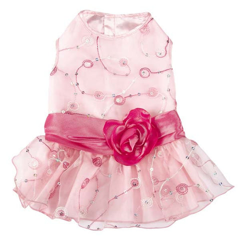 East Side Collection Elegance Pink Rosette Dresses