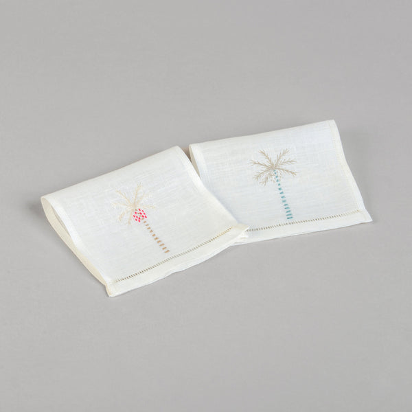 PALM TREE LINEN COCKTAIL NAPKINS (Set of 6)