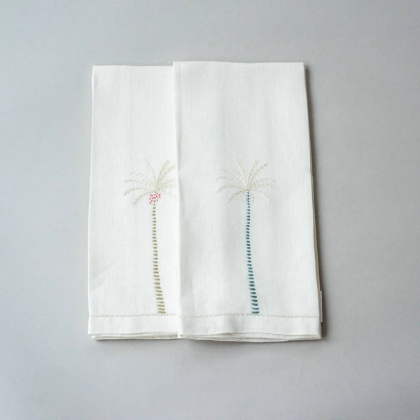 PALM TREE LINEN GUEST TOWEL (set of two)