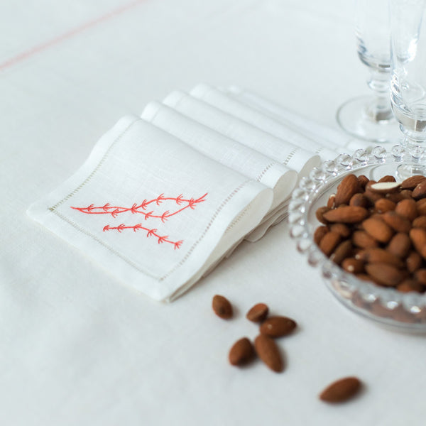 SEAWEED LINEN COCKTAIL NAPKINS (Set of 6)