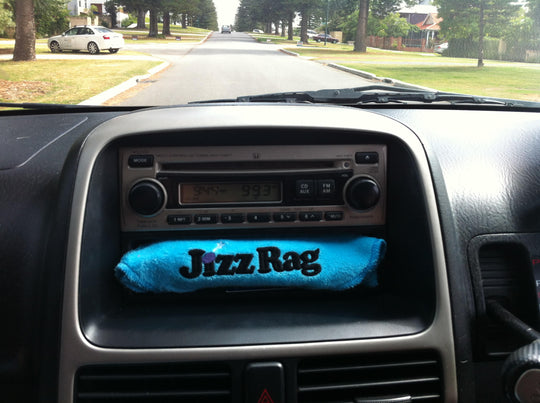 Whenever I'm on the road, my JizzRag always gets to ride shotgun.