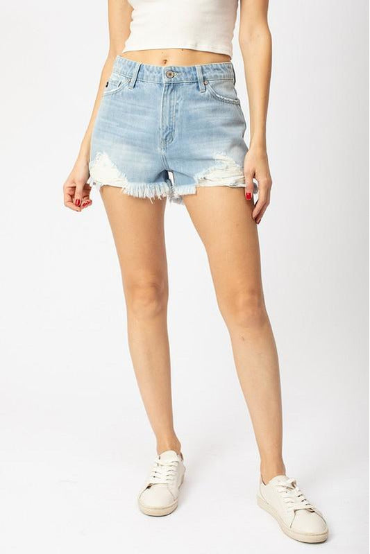 Claire High-Rise Denim Shorts in Light