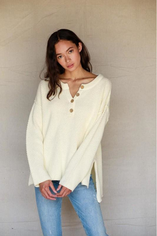 Bandit Henley Sweater Ivory