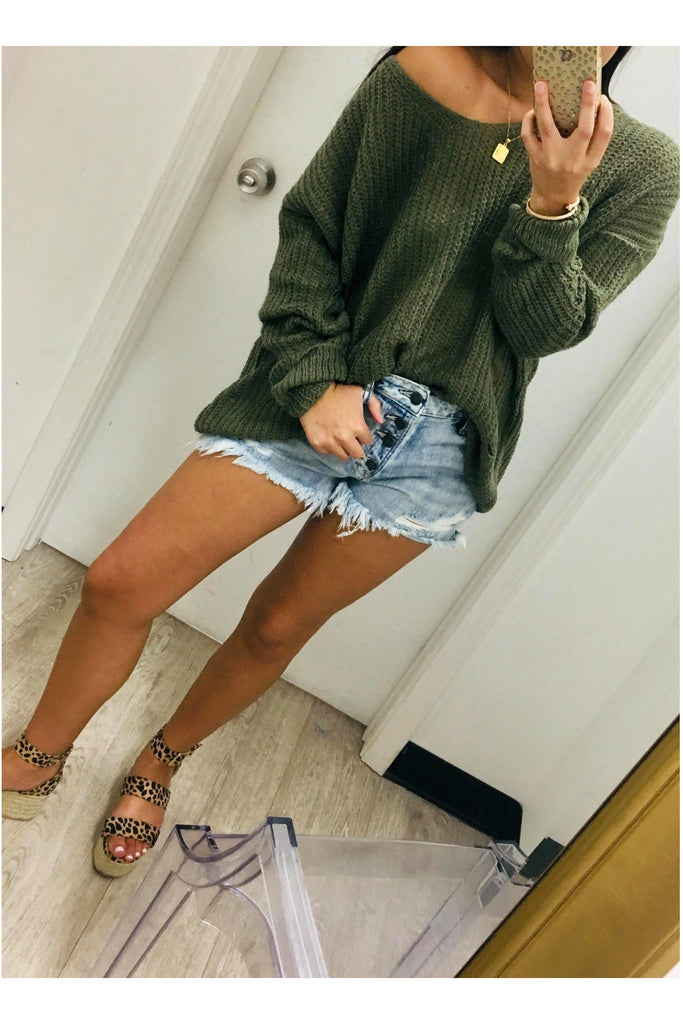 Totally Edgy Sweater Olive