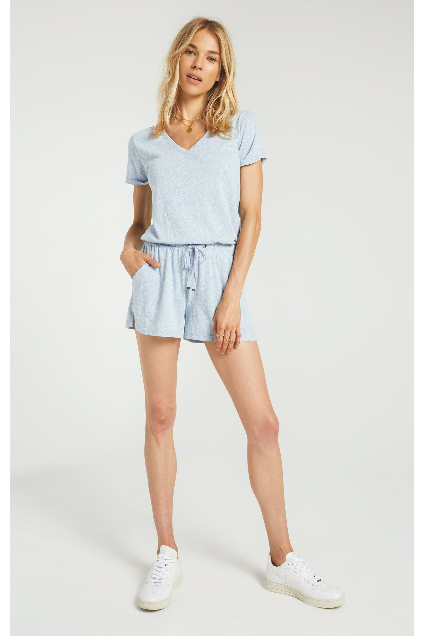 Pia Triblend Romper Forever Blue by Z Supply
