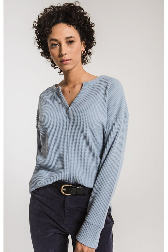 Waffle Thermal Split Neck in Ashley Blue by Z Supply