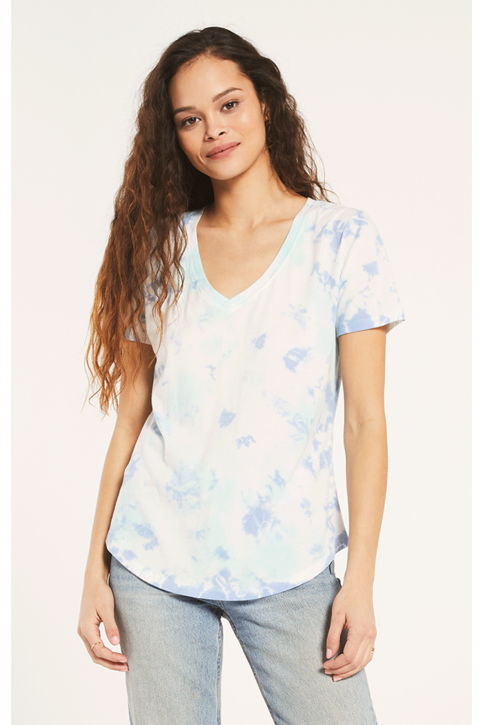 Hazy Vneck Tee By Z Supply in Aqua Reef