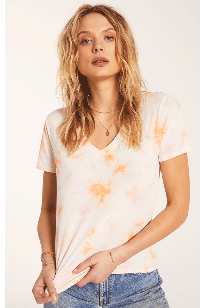 Hazy Vneck Tee By Z Supply in Pink Champagne