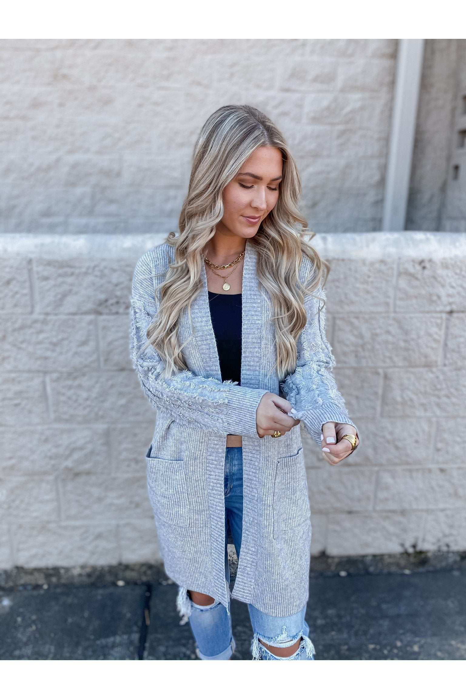 The Frills Cardi Heather Grey