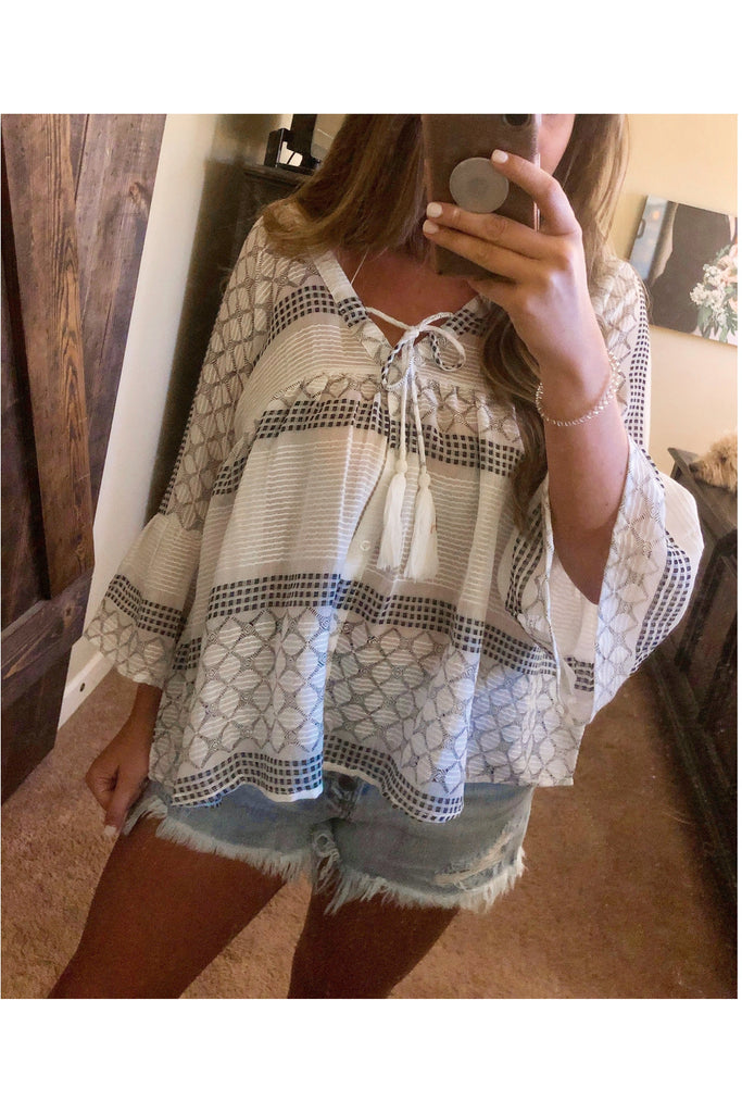 Lets Be Boho Top - Ivory/Black