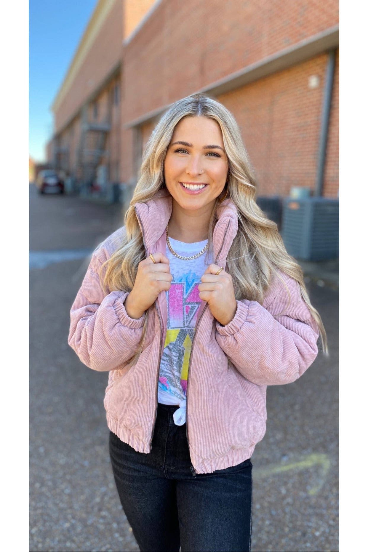 Quilt Bomber Jacket Dusty Pink