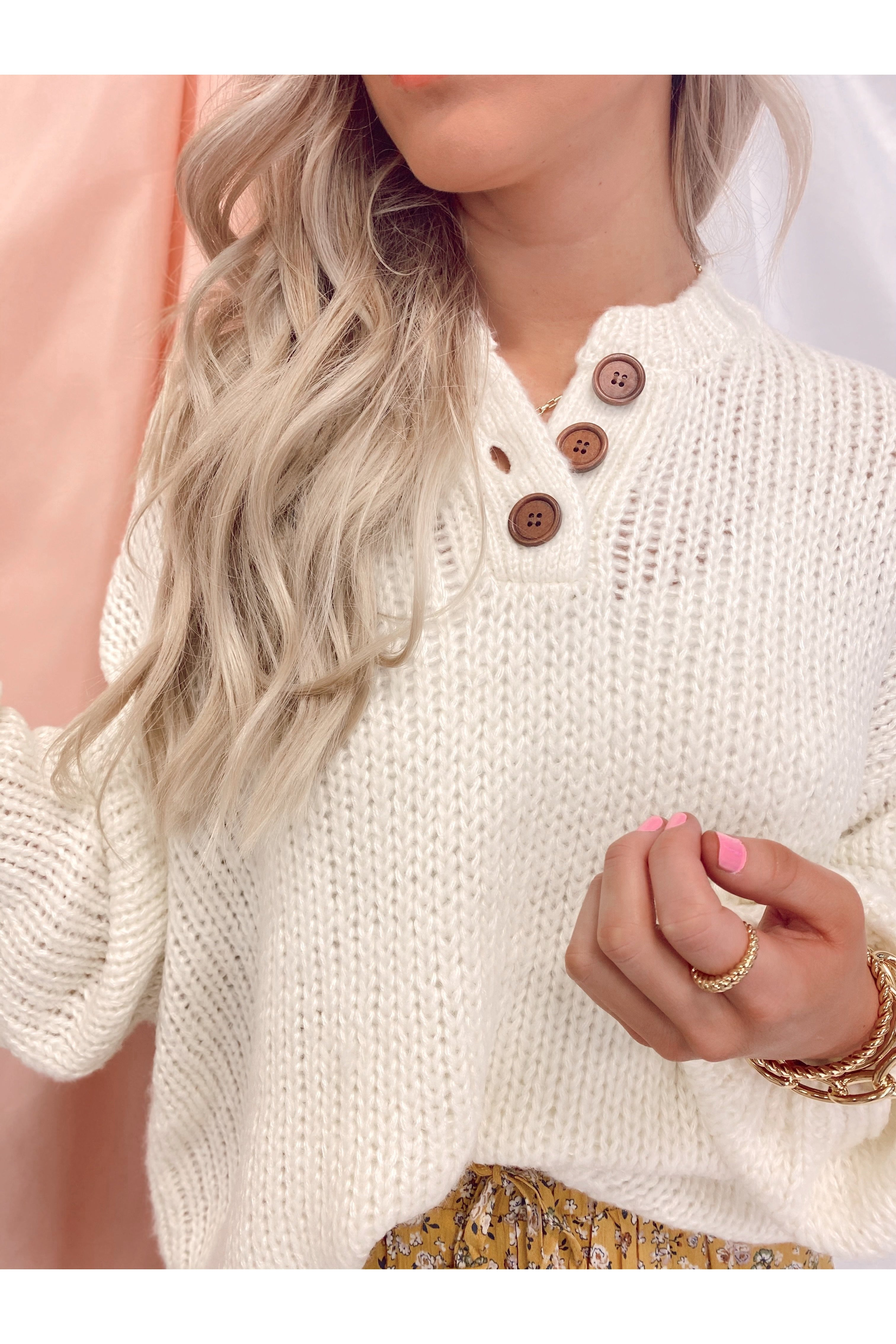 Kick Back Henley Sweater Cream