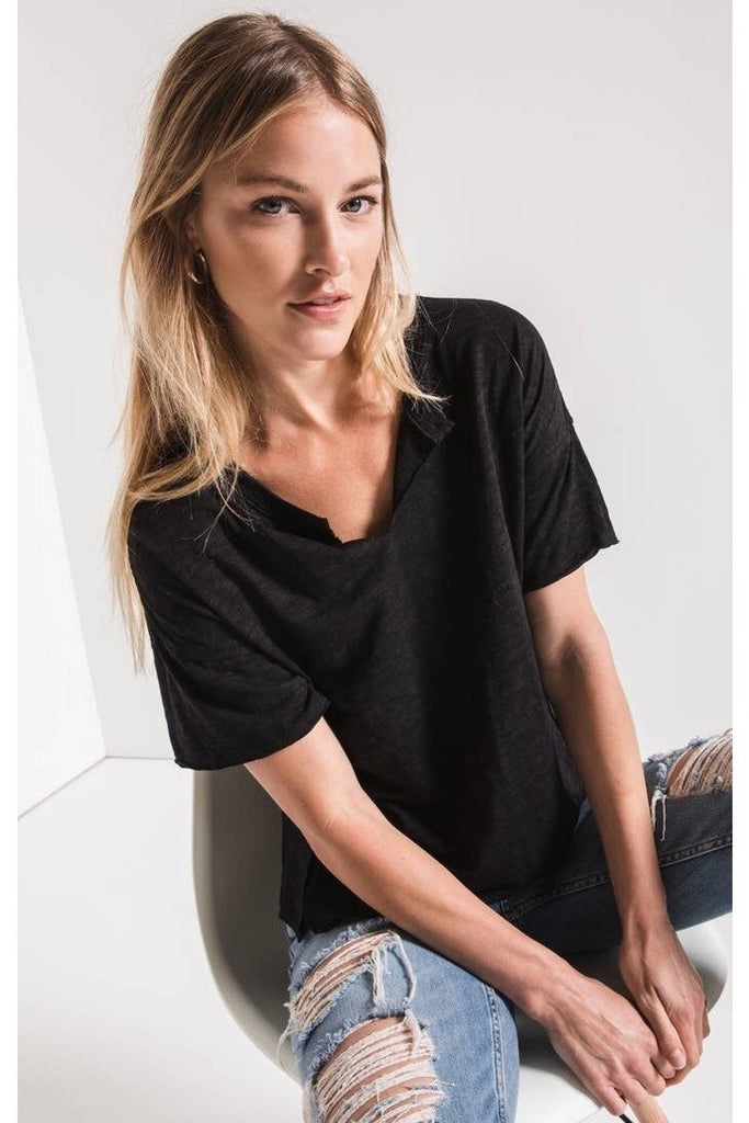 The Airy Slub Slouchy Tee Black