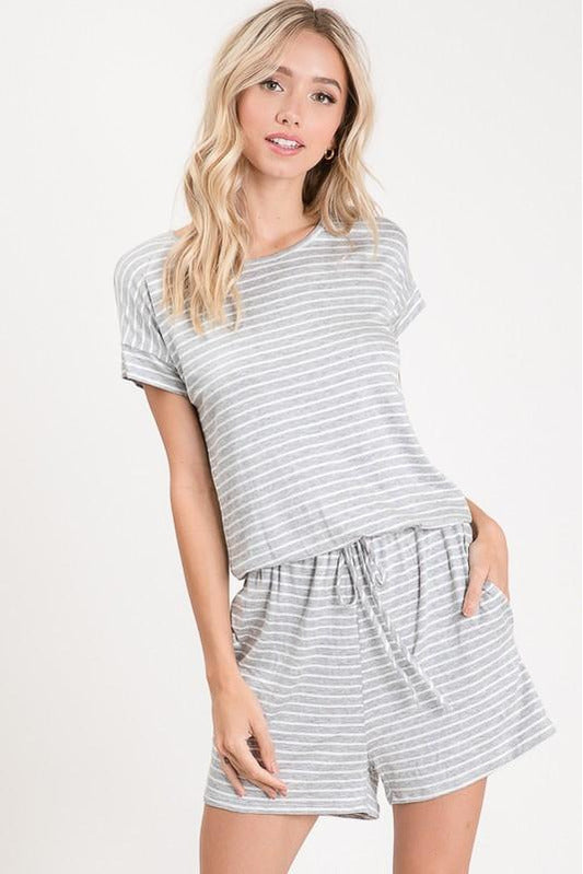 What I Want Striped Romper in Gray