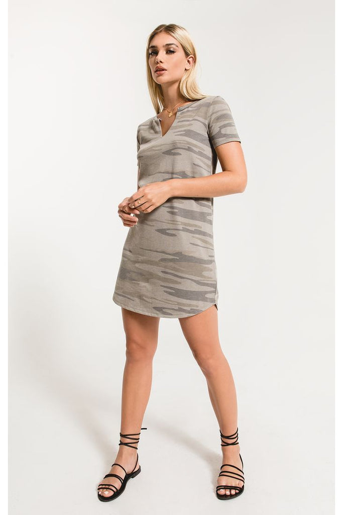 The Camo Split Neck Dress Lt Sage