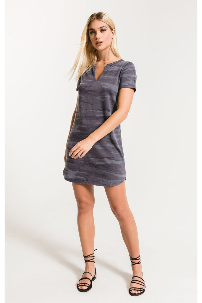 The Camo Split Neck Dress - DK Blue