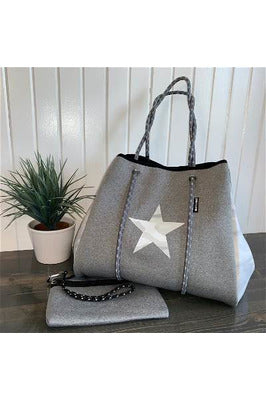 Gray Camo Star Large Tote