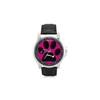 MacAi BooBooFace  PAW in Pink Unisex Stainless Steel Leather Strap Watch