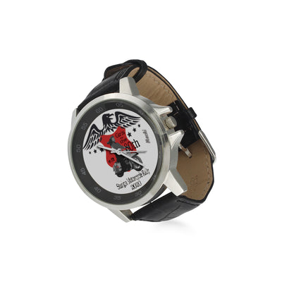 MacAi 'Girls-Ride-the-80th-Sturgis' Unisex Stainless Steel Leather Strap Watch Women Bikers