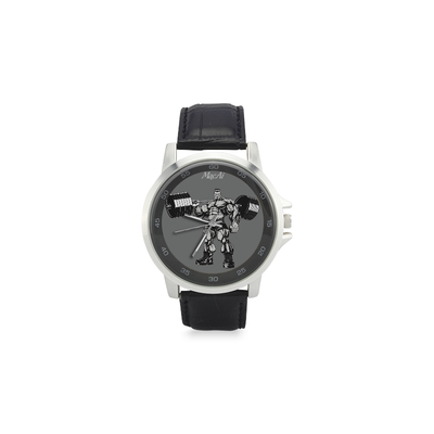 Bodybuilder Custom Watch by MacAi Unisex Stainless Steel Leather Strap Watch