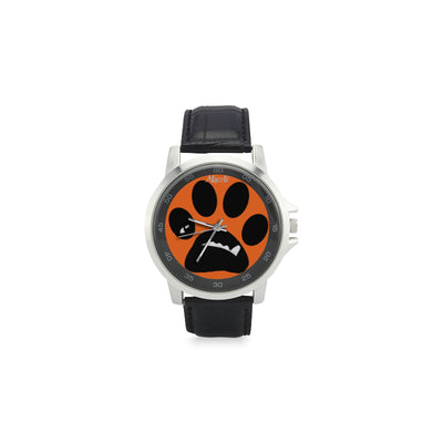 MacAi 'BooBooFace'  PAW  Unisex Stainless Steel Leather Strap Watch on Orange Travel Gifts
