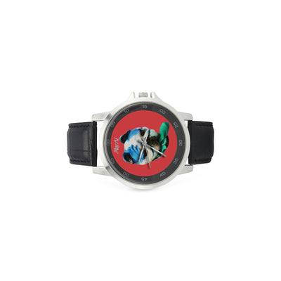 MacAi 'BooBooFace' Red Watch with Leather Band Men Women Young Adults Gifts Travel