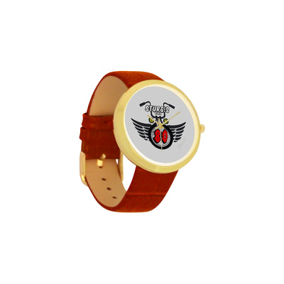 MacAi 'Ride the 80' Stainless Steel Gold Plated Watch in White background Women Bikers Gifts