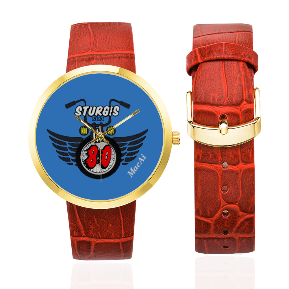 MacAi 'Ride the 80' Custom Stainless Steel Gold Plated Watch Sturgis Women Bikers Rally