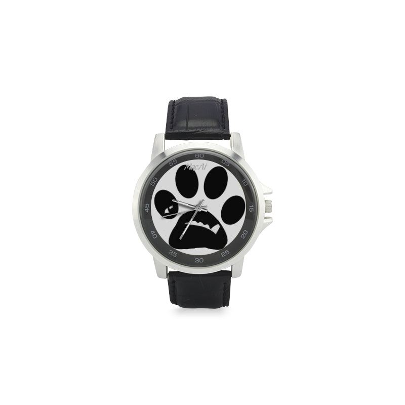 MacAi 'BooBooFace'  PAW  Unisex Stainless Steel Leather Strap Watch on White Backround