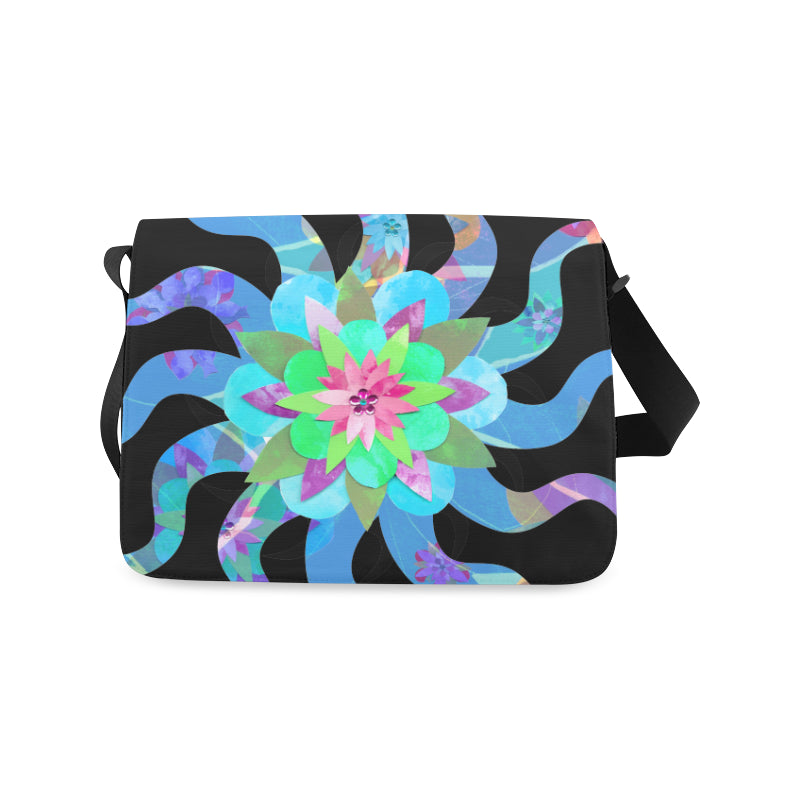 Blue Sun Flower Messenger Bag from MacAi & Co for Everyone Travel and Daily Use