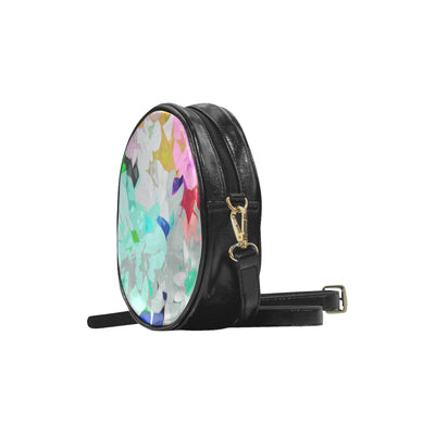 Abstract Flowers by MacAi & Co Round Sling Bag (Model 1647)