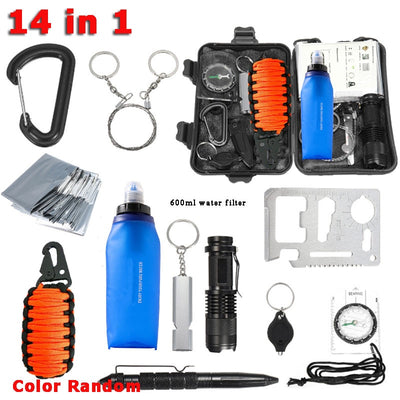 Survival Kit Set Military Outdoor Travel Mini Camping Tools Emergency Multifunction Card Personal Water Filter Survival Keychain