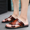 Men's Casual PU Leather Sandals Summer Breathable Outdoor Beach Flip-Flops