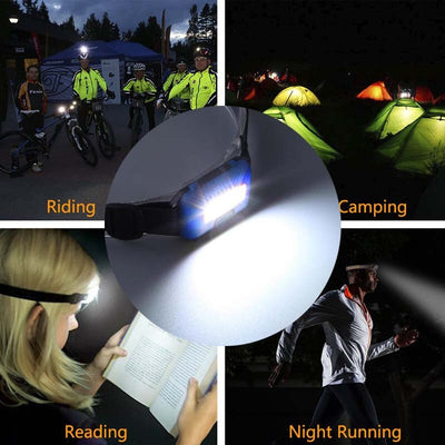 Outdoor Waterproof COB LED Headlamp Headlight 3 Modes Helmet Light Lamp Torch for Running Camping Hiking Fishing with Headband
